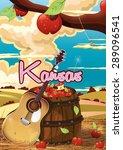 kansas cartoon guitar travel... | Shutterstock . vector #289096541