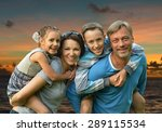 friendly family of four on a... | Shutterstock . vector #289115534