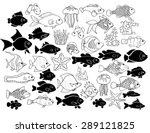 set of hand drawn exotic fishes ... | Shutterstock .eps vector #289121825