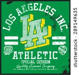 los angeles athletic t shirt... | Shutterstock .eps vector #289149635