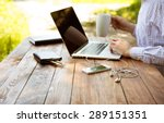 freelance work. casual dressed... | Shutterstock . vector #289151351