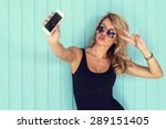 blonde woman in bodysuit with... | Shutterstock . vector #289151405
