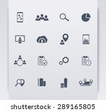 16 business flat blue icons...