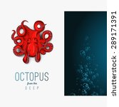 octopus in deep. vector color... | Shutterstock .eps vector #289171391