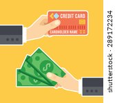 hand with credit card and hand...   Shutterstock .eps vector #289172234