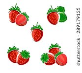 strawberries set. vector | Shutterstock .eps vector #289179125