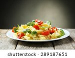 delicious pasta on plate on... | Shutterstock . vector #289187651