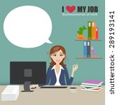 business woman at office work... | Shutterstock .eps vector #289193141