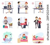 daily routine vector set with... | Shutterstock .eps vector #289202444