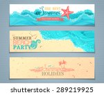 vector set of summer banners.... | Shutterstock .eps vector #289219925