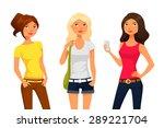cute cartoon girls in summer...   Shutterstock .eps vector #289221704
