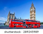 London With Red Bus Against Bi...