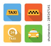 flat taxi icons with long...