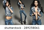 Stock photo gorgeous young brunette lady wearing jeans 289258061