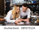 two disappointment cafe owners...   Shutterstock . vector #289273124