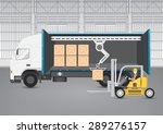 vector of forklift working with ... | Shutterstock .eps vector #289276157