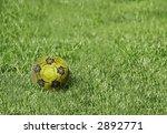 green soccer ball - stock photo