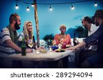 beach summer dinner party... | Shutterstock . vector #289294094