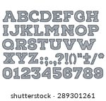 chalk sketched striped alphabet ... | Shutterstock .eps vector #289301261