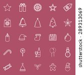 christmas line icons on red...   Shutterstock .eps vector #289313069
