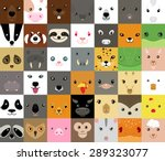 Stock vector set of cute simple animal faces 289323077