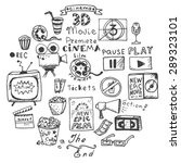 set of hand drawn cinema doodles | Shutterstock .eps vector #289323101