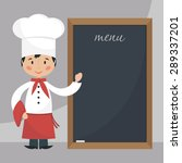 funny cartoon chef cook with... | Shutterstock .eps vector #289337201