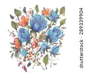 watercolor  flowers isolated on ... | Shutterstock . vector #289339904