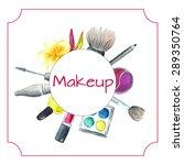 watercolor banner with makeup... | Shutterstock .eps vector #289350764