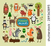 forest animals set. tiger koala ... | Shutterstock . vector #289363895