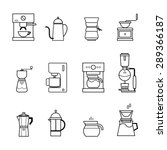 coffee and tea icons set vector ... | Shutterstock .eps vector #289366187
