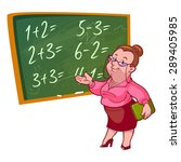 cartoon teacher stands near the ... | Shutterstock .eps vector #289405985