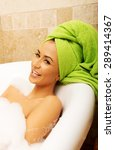 spa woman relaxing in bath. | Shutterstock . vector #289414367