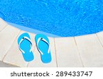 pair of blue flip flops on the... | Shutterstock . vector #289433747