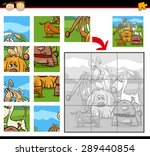 Stock vector cartoon vector illustration of education jigsaw puzzle game for preschool children with dogs 289440854