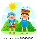 happy kids collecting fruit | Shutterstock .eps vector #289450085