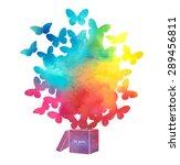 open cardboard box with... | Shutterstock .eps vector #289456811