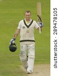 Small photo of CHESTER LE STREET, ENGLAND - August 10 2013: Chris Rogers raises his bat to acknowledge the crowd after scoring 100 runs during day two of the Ashes 4th test match at The Emirates Riverside Stadium