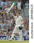 Small photo of LONDON, ENGLAND - August 22 2013: Steven Smith raises his bat to acknowledge the crowd after scoring a century during day two of the 5th Investec Ashes cricket match between England and Australia