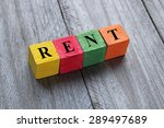 word rent on colorful wooden... | Shutterstock . vector #289497689