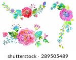 watercolor flowers set.... | Shutterstock .eps vector #289505489