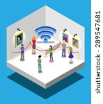 wi fi in gallery with people | Shutterstock .eps vector #289547681
