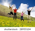 happy friends jumping in meadow | Shutterstock . vector #28955104