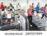 elevated view of busy gym with... | Shutterstock . vector #289557899
