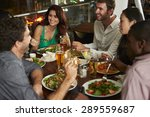 group of friends enjoying... | Shutterstock . vector #289559687