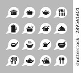 dishes icon set | Shutterstock .eps vector #289561601