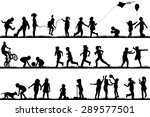children silhouettes playing... | Shutterstock . vector #289577501