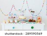 cake  candies  marshmallows ... | Shutterstock . vector #289590569