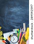 stack of books on a desk for... | Shutterstock . vector #289592597