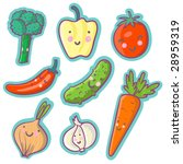 tasty vegetables   cartoon set | Shutterstock . vector #28959319